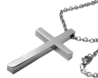 Simple Large Cross Necklace for Men, Stainless Steel Jewelry, Religious Gifts, Confirmation Gift