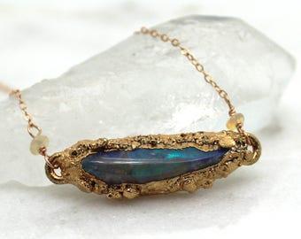 opal necklace, boulder opal, fire opal, druzy necklace, rose gold necklace,  raw diamond, fire opal necklace, rose gold