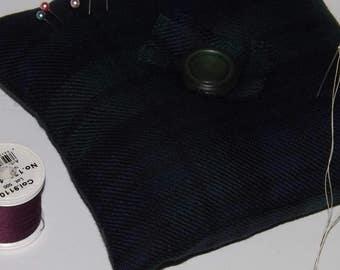 Large Pincushion, Black Watch Tartan Pincushion, Square Pincushion