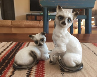 Vintage Mid Century Ceramic Siamese Cats - Siamese kittens - Mid Mod - Kitschy - knick knacks - figurines - Mothers Day Gift