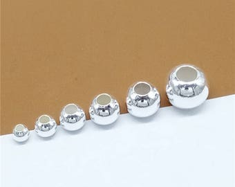 Sterling Silver Round Spacer Beads, Sterling Spacer Beads, 925 Silver Round Beads, Ball Spacer Beads 4mm 5mm 6mm 7mm 8mm 10mm - TF504