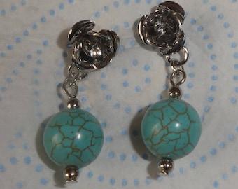 Vintage Turquoise Bead dropper earrings