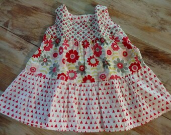 Pink Floral 9-12 month summer dress, 3- tiered dress, picnic dress, infant dress, baby shower gift