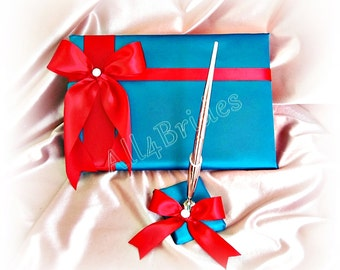 Wedding Guest Book and pen set, turquoise and red wedding accessories