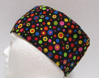 Mens Colorful Scrub Hat or Surgical Cap Bright Rainbow Circles and Dots on Black