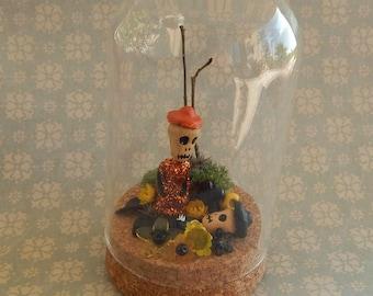 glass dome oddities dia de los muertos skull skeleton zombie mexican folk