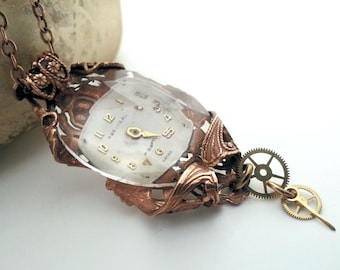 Frozen In Time 2 Steampunk necklace,  steampunk jewelry, statement necklace, watch jewelry, steampunk filigree pendant necklace, fantasy