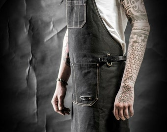 Waxed canvas apron and leather by Kruk Garage Men's apron Work apron Barista apron Barber apron Men's gift Birthday gift