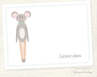 Personalized Notecard Set / Set of Flat Personalized Stationery / Stationary Cards/ Personalized Namecards/ mouse /kids stationery/mousie