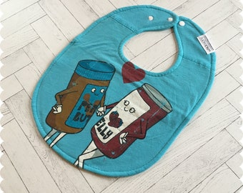 Peanut Butter and Jelly Baby Bib, Cute Recycled T-Shirt Baby Bib, New Baby Gift, Baby Shower Gift, Cute Baby Gift