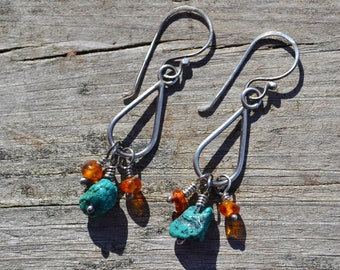 Sterling Silver Turquoise and Amber Earrings
