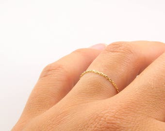 The Millennial 1mm 14K Fine Gold Chain Ring, Chain Ring, Delicate, Stacking Rings, Fine Jewelry, Solid Gold, BrookeMicheleDesigns