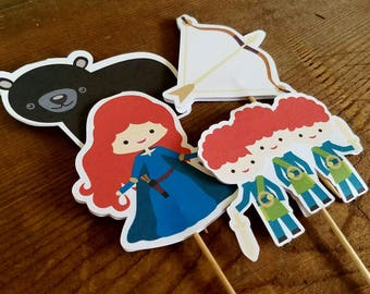 Brave Girl Party - Set of 12 Assorted Brave Girl Cupcake Toppers by The Birthday House
