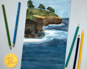 California Coastal Watercolor 5/6 - ORIGINAL ART - Frame Optional