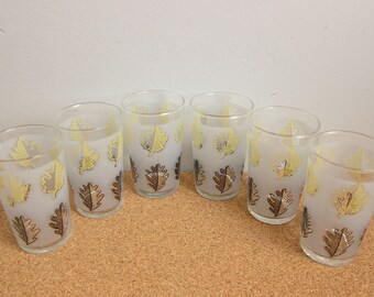 Vintage Libbey Frosted Yellow and Black Leaves Tumblers and Juice Glasses - Oak Maple Autum Leaf Mid Century Glassware