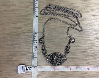 "Vintage 23"" 925 Sterling Silver 12.1g Necklace Marcasite Roses Used"