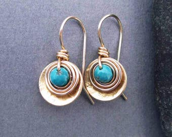 Genuine Turquoise Drop Earrings with Brass and 14k Gold Filled Wire, Small Earrings Artisan Modern Everyday Jewelry December Birthstone