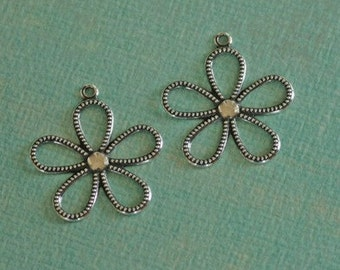 2 Silver Flower Charms 2193