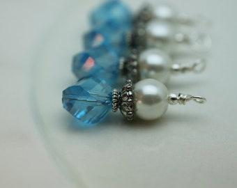 Vintge Style Aqua Blue Helix Rhombus and White Pearl Bead Dangle Charm Drop Set - Earring Dangle, Charm, Drop, Pendant
