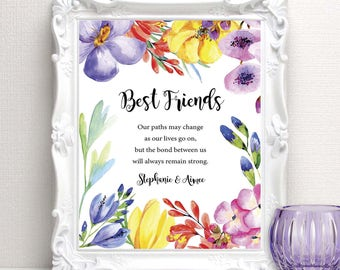Best Friend Gift - Personalized Gift for a Special Friend - BFF Birthday Gift - Bridesmaid or Maid of Honor Wedding Day Gift - 8x10 Print
