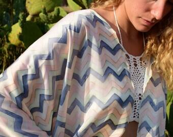 Pastel Succulent Kimono - Chic Kimono Caftan with silk texture – Mini Length – One size