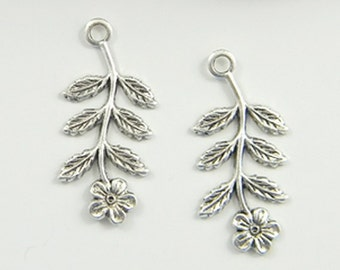 Antiqued Silver Flower, Brass Leaf, Brass Stamping, Flower Charm, Drop 14mm x 29mm - 6 pcs. (sl147)