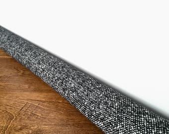 Custom black tweed door draft stopper / speckled tweed draft snake