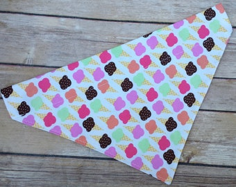 Ice Cream Cone Dog Bandana / Icecream Dog Scarf / Summer Cat Bandana