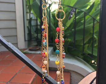 Handmade gold colorful bead chain and pearl dangling drop statement earrings