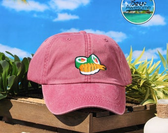 Sushi Roll Embroidered Baseball Hat, Cute Sushi Hat,Cute Gift, Sushi Lover Gift, Choose Your Own Color Hat, Summer Hat, Low Profile Hat,