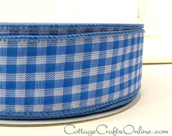 """Wired Ribbon, 1 1/2"""" wide, Light Blue White Gingham Check Plaid - FIFTY YARD ROLL - Offray - Summer, Spring, Craft Wire Edged Ribbon"""