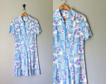 Vintage ZIP UP Dress • 1960s Clothing • Geometric Print Short Sleeve Light Blue White Neon Pink Floral Knee Length Shirtdress • Medium Large
