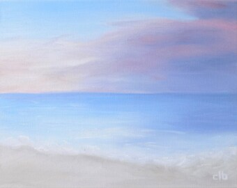 Beach Painting, 14 x 11, Oil Painting, Original Art, Ocean Art, Sunset Painting, Pastel Painting, Cloud Painting, Landscape Painting