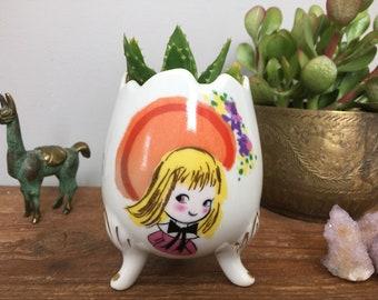 Vintage Tripod Egg Planter with Adorable Design - Boho Kids Room Home Decor