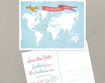 Destination wedding World map International couple bilingual wedding Save the Date Card Airplane with Banner USA Australia DEPOSIT PAYMENT