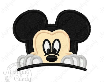 Mr Mouse Peeking Applique Machine Embroidery Design 3x3 4x4 5x7 Peeker Head Face INSTANT DOWNLOAD