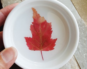 Red Ring Dish, Fall Leaf Ring Dish, Maple Leaf Ring Dish, Botanical Gift, Floral Dish, Pressed Leaf Dish