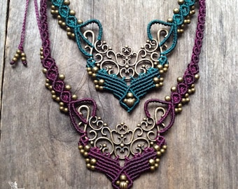 Macrame bohemian chic elven necklace boho jewelry by Creations Mariposa