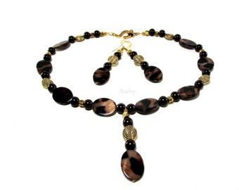 Necklace and Earrings Set - Brown Animal Print Abalone Shell Pearl Necklace with Matching Earrings