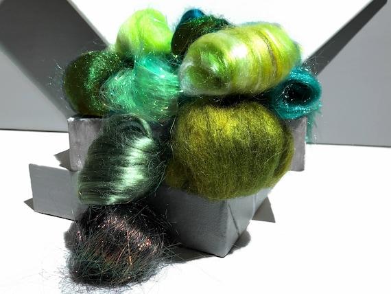 Green Fiber kit, Sampler, wool, firestar, glitz, Needle, Wet Felting, Spinning, mini batt, green roving, Dark, medium, light green, 1 oz