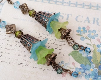 """Trumpet Flower Earrings Lime Green & Aqua blue Antique Gold Cone Tipped """"TROPICAL ISLAND BREEZE"""" Aqua Blue and Lime Green Wedding Earrings"""