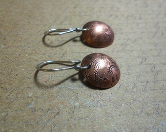 Domed stamped copper earings