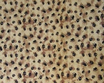 100 percent cotton fabric Animal footprints. Price is per Fat Quarter.