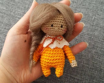 crochet doll girl, fall girl, amigurumi, mini doll, ready to ship, home decor, ornament