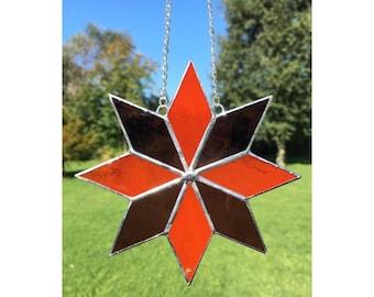 Stained Glass Dark Pink and Orange Star Suncatcher Decoration