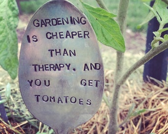 Gardening is cheaper than therapy-Vintage Silverware Garden Marker