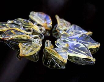 Lampwork Silver Brown Leaf 25mm,  Glass Handmade Artisan Lampwork  Bead,  SRA