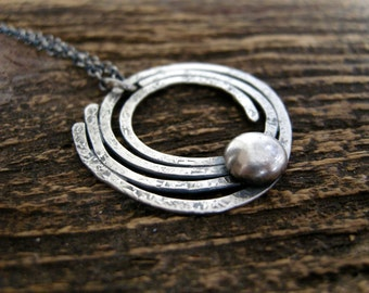 recycled sterling silver pendant necklace, handmade sterling silver necklace