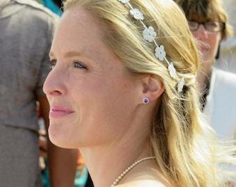 Bridal Headband- Flower Halo- Wedding Tiara- Wedding Headband- Flower Headband- Daisy Headband- Flower Girl Headband- Valentines Gift