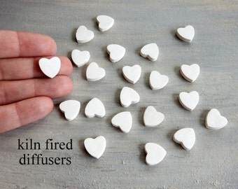 "10 Tiny Small White Heart Discs Essential Oil Diffuser Clay 0.5"" Nuggets Pottery Ceramic Bulk Bisque Aromatherapy Pure Healing or Fragrance"